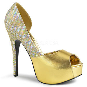 Shoes - Wide Width Platform Metallic Gold High Heel Shoes